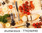 set from silverware  different... | Shutterstock . vector #774246940