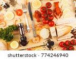 set from silverware  different... | Shutterstock . vector #774246940