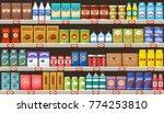 supermarket  shelves with... | Shutterstock .eps vector #774253810
