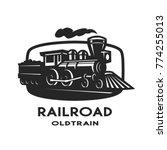 old steam train emblem  logo. | Shutterstock .eps vector #774255013