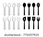 spoons set. line art vector... | Shutterstock .eps vector #774257923