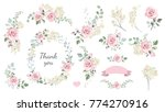 set of floral branch  wreaths ... | Shutterstock .eps vector #774270916