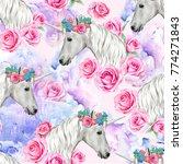 unicorn seamless pattern with... | Shutterstock . vector #774271843