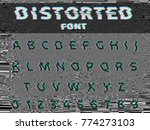 vector distorted glitch font.... | Shutterstock .eps vector #774273103