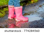 little girl with pink wellys in ... | Shutterstock . vector #774284560