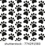 paw print seamless pattern.... | Shutterstock .eps vector #774291583