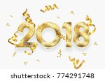 2018 happy new year. gold... | Shutterstock . vector #774291748