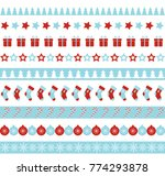 christmas seamless borders.... | Shutterstock . vector #774293878