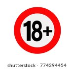 age limit sign or icon in red.... | Shutterstock .eps vector #774294454