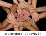 diversity of women hands and... | Shutterstock . vector #774298384