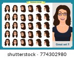 set of woman's emotions design. ... | Shutterstock .eps vector #774302980