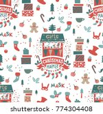 christmas seamless pattern with ... | Shutterstock .eps vector #774304408
