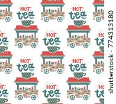 tea shop seamless pattern with...