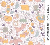 seamless colored pattern with... | Shutterstock .eps vector #774313678