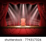 open red curtain and...   Shutterstock .eps vector #774317326