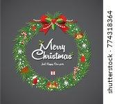 christmas wreath vector  | Shutterstock .eps vector #774318364