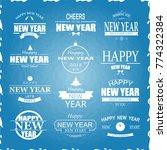 typographic happy new year... | Shutterstock .eps vector #774322384