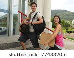 college students moving in to... | Shutterstock . vector #77433205