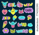 vector patch set   80s 90s... | Shutterstock .eps vector #774352390