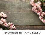Beautiful Beige Roses On Woode...