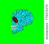skull icon with ornament... | Shutterstock .eps vector #774373174