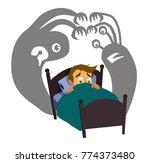 little boy can not sleep... | Shutterstock .eps vector #774373480