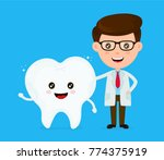 cute funny smiling dentist and... | Shutterstock .eps vector #774375919
