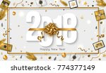 new year 2018 greeting card... | Shutterstock .eps vector #774377149