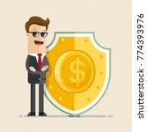 businessman protecting with... | Shutterstock .eps vector #774393976