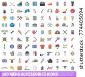 100 mens accessories icons set. ... | Shutterstock .eps vector #774405094