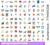 100 child health icons set.