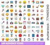 100 audience icons set. cartoon