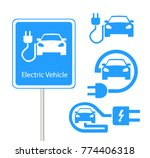 electric car in refill icon...   Shutterstock .eps vector #774406318