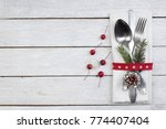 christmas table place setting....   Shutterstock . vector #774407404