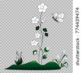 a white outline of flowers is... | Shutterstock .eps vector #774439474