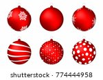 red christmas balls isolated on ... | Shutterstock .eps vector #774444958