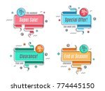 flat linear promotion ribbon... | Shutterstock .eps vector #774445150