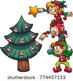 Cartoon Elves Standing On Each...