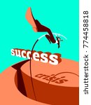 overcoming the crisis. success. ... | Shutterstock .eps vector #774458818