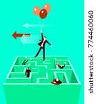 takes off on the baloons out of ... | Shutterstock .eps vector #774460060