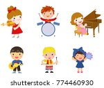 group of children and music... | Shutterstock .eps vector #774460930