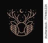 deer line art illustration | Shutterstock .eps vector #774461224