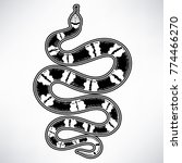 hand drawn vintage snake with... | Shutterstock .eps vector #774466270