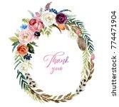 watercolor floral boho... | Shutterstock . vector #774471904