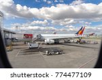 dec 2 2017 airplane waiting at...   Shutterstock . vector #774477109