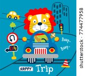 lion the driver car funny... | Shutterstock .eps vector #774477958