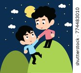 helping each other vector... | Shutterstock .eps vector #774483010