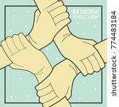 helping each other vector... | Shutterstock .eps vector #774483184