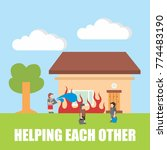 helping each other vector... | Shutterstock .eps vector #774483190