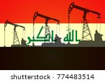 oil pump on background of flag... | Shutterstock .eps vector #774483514